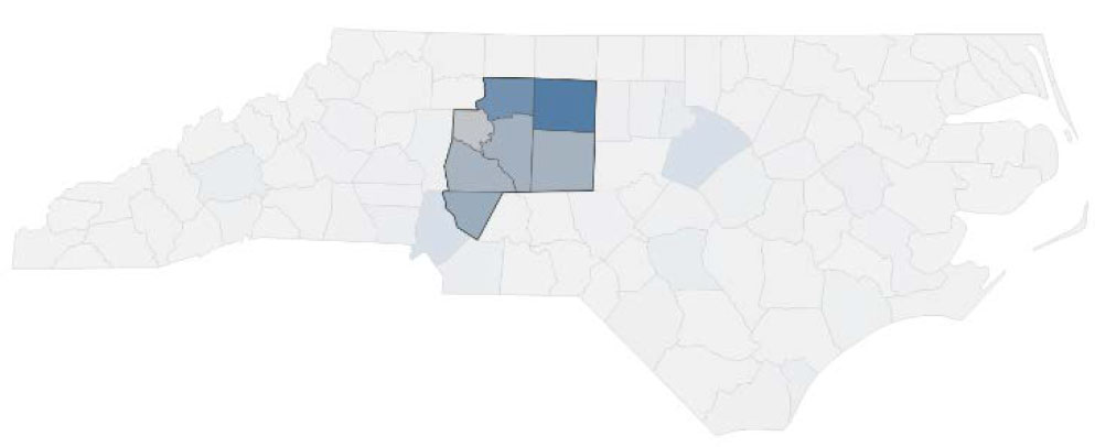 map of Davidson County in North Carolina