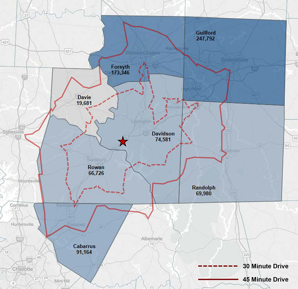 Map of Davidson County NC with drive time locations